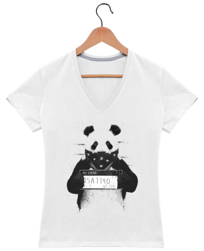 T-shirt Col V Femme 180 gr Bad panda par Balàzs Solti