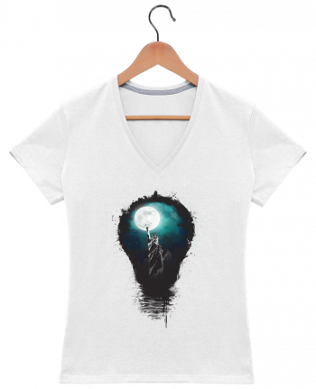 T-shirt Col V Femme 180 gr Big city lights par Balàzs Solti