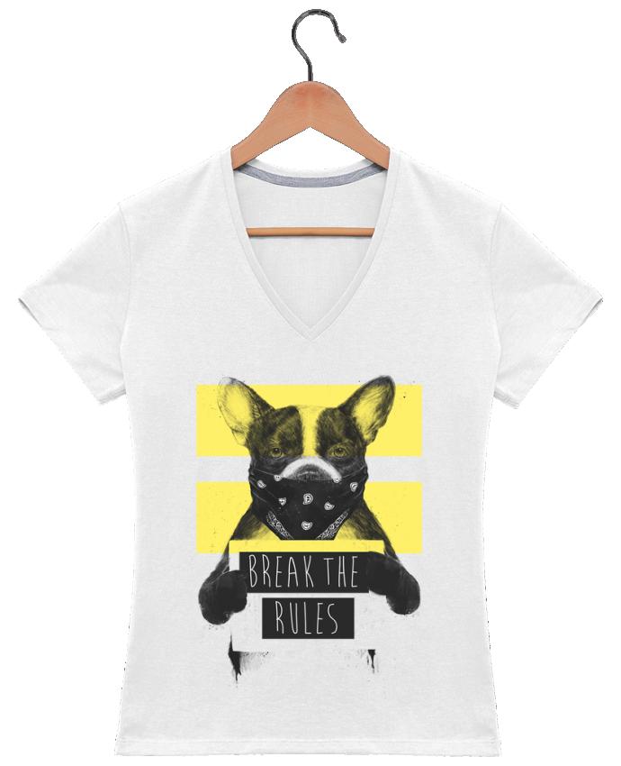 T-shirt Col V Femme 180 gr rebel_dog_yellow par Balàzs Solti