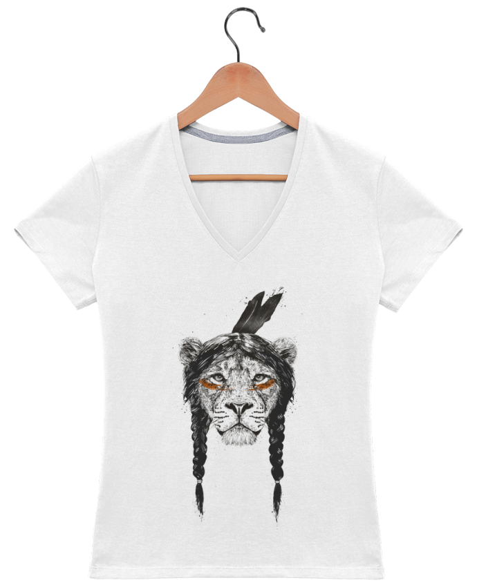 T-shirt Col V Femme 180 gr warrior_lion par Balàzs Solti