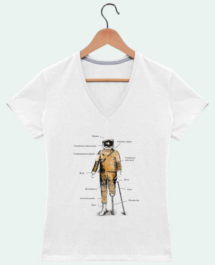 T-shirt Col V Femme 180 gr Astropirate with text par Florent Bodart