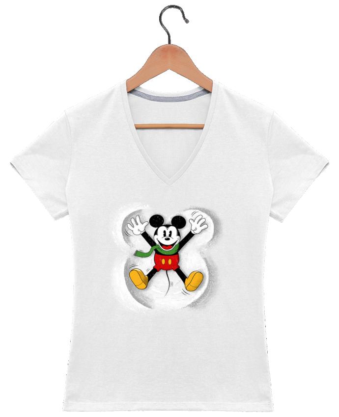 T-shirt Col V Femme 180 gr Mickey in snow par Florent Bodart