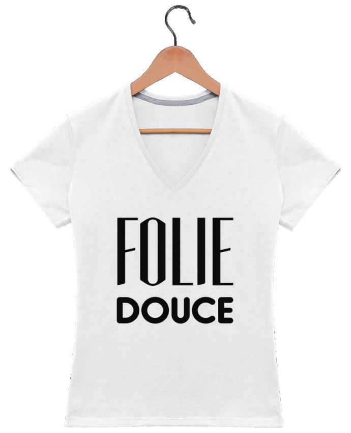 T-shirt Col V Femme 180 gr Folie douce par tunetoo
