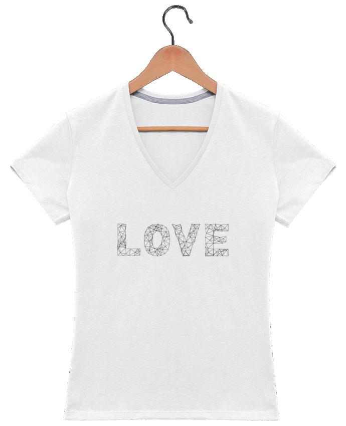T-shirt Col V Femme 180 gr Love par na.hili