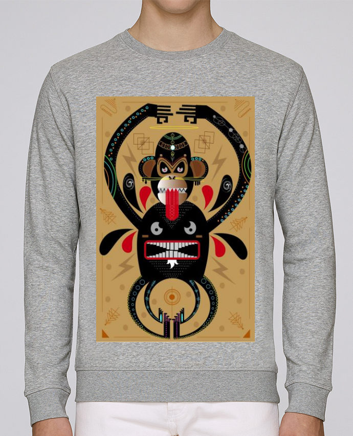 newest c30a1 b0797 5383695-sweat-col-rond-unisex-stanley-stella-rise-heather-grey-monkey-shaman-by-marihy.png