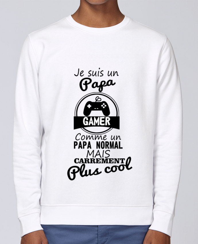 Sweat Col rond Unisex Stanley Stella Rise Papa gamer, cadeau père, gaming, geek par Benichan