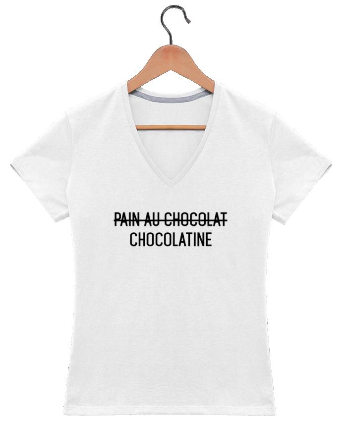 T-shirt Col V Femme 180 gr Chocolatine par tunetoo