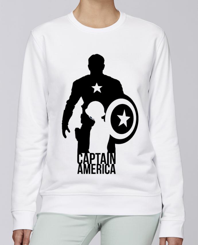 Sweat Col rond Unisexe Stanley Stella Rise Captain america par Kazeshini
