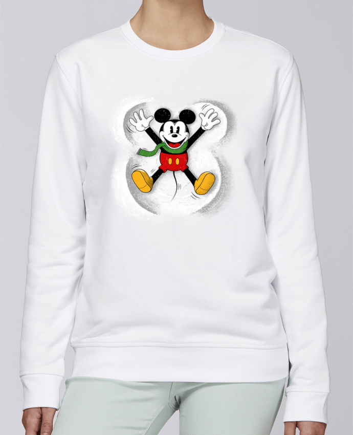 Sweat Col rond Unisexe Stanley Stella Rise Mickey in snow par Florent Bodart