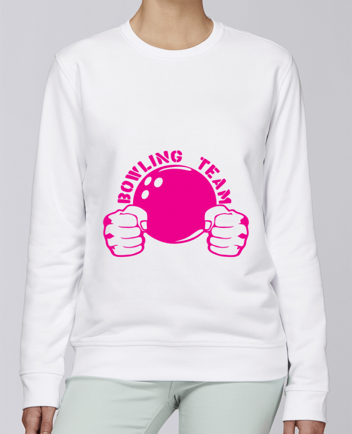 Sweat Col rond Unisexe Stanley Stella Rise bowling team poing fermer logo club par Achille