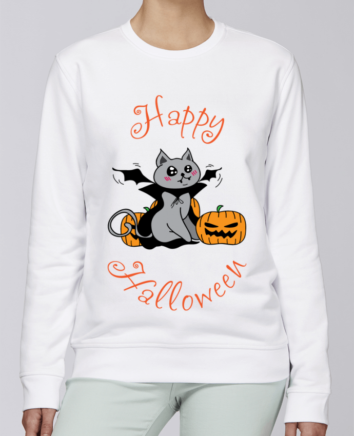 Sweat Col rond Unisexe Stanley Stella Rise Cut Cat Halloween - Chat vampire par