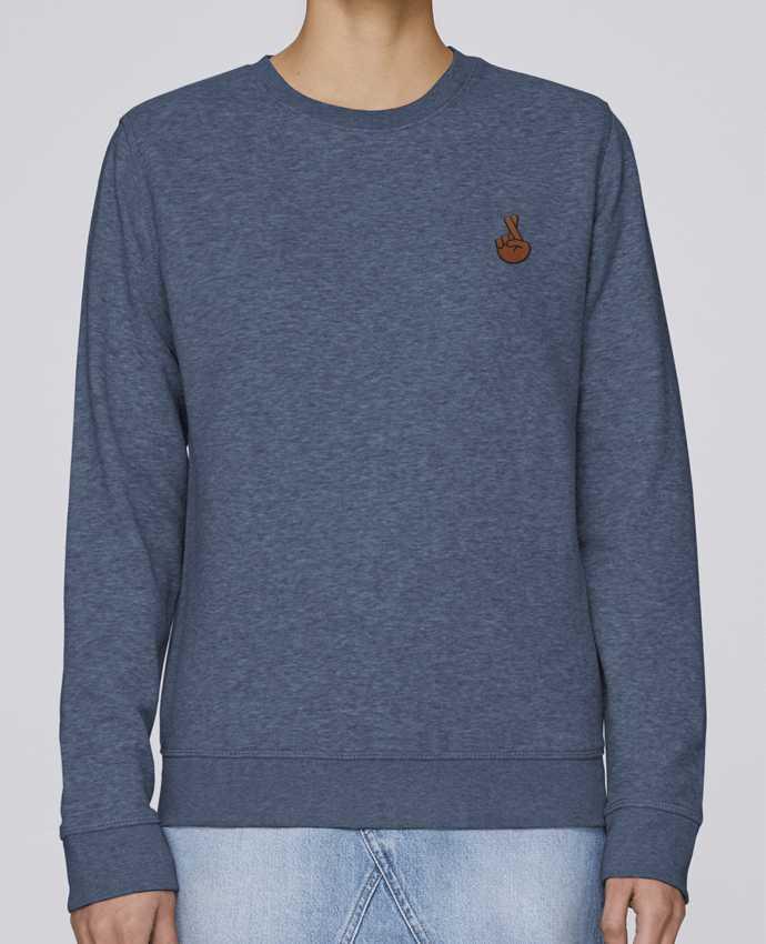 Sweatshirt brodé Doigts croisés black par tunetoo
