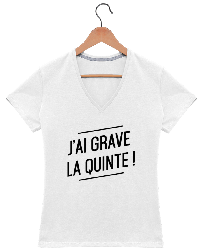 T-shirt Col V Femme 180 gr La quinte ! par tunetoo