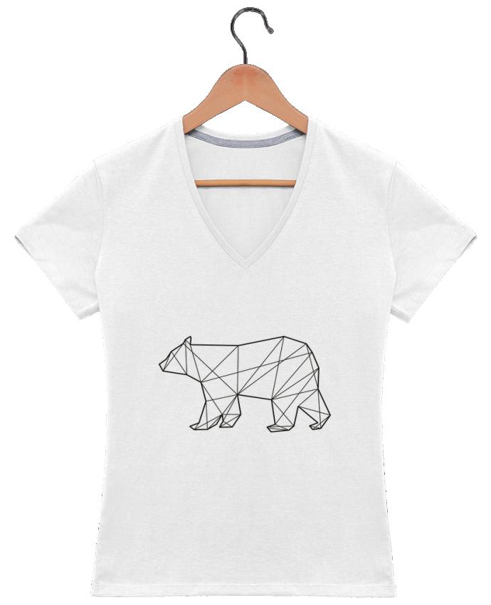 T-shirt Col V Femme 180 gr Polygonal Bear par AB