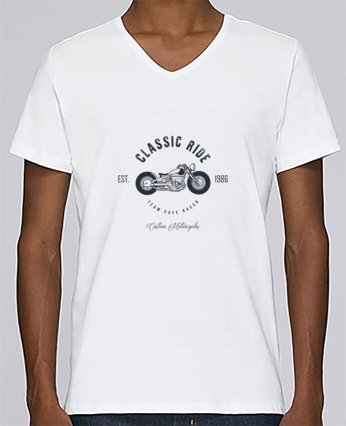 T-shirt Col V Homme Stanley Relaxes Classic Ride Motorcycles par AB