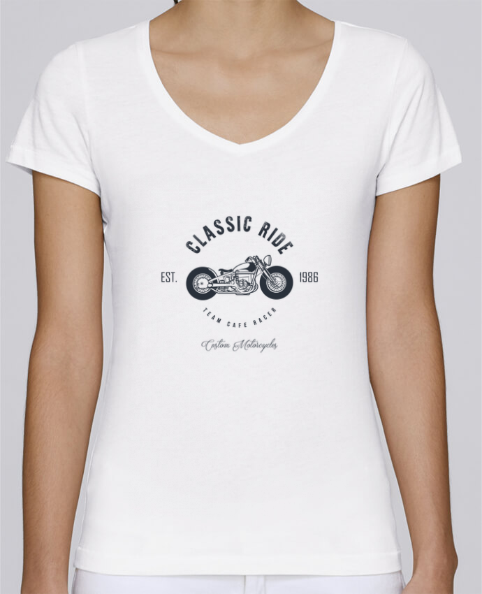 T-shirt Femme Col V Stella Chooses Classic Ride Motorcycles par AB