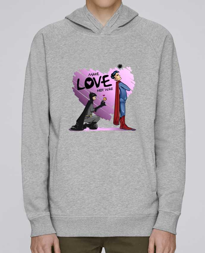 Sweat Capuche Homme Stanley Base MAKE LOVE NOT WAR (BATMAN VS SUPERMAN) par teeshirt-design.com