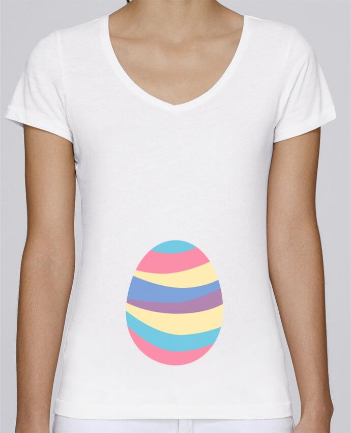 T-shirt Femme Col V Stella Chooses Easter egg par tunetoo
