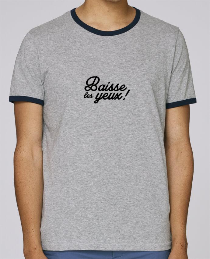 T-Shirt Ringer Contrasté Homme Stanley Holds Baisse les yeux ! pour femme par Nana