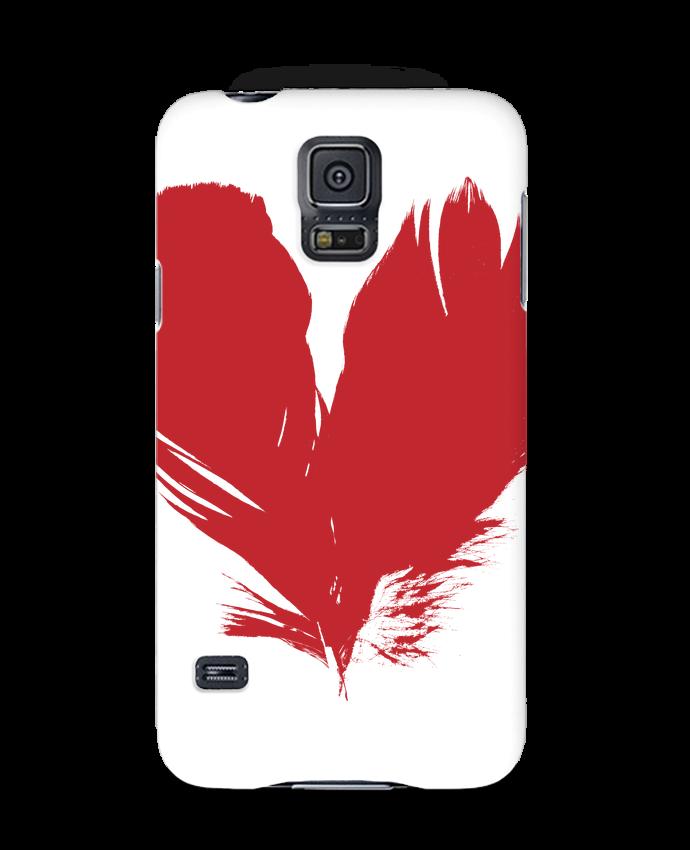 Coque 3D Samsung Galaxy S5 coeur de plumes par Studiolupi