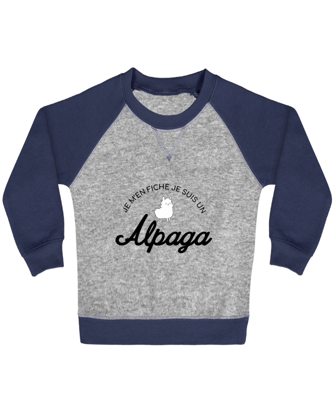 Sweat Shirt Bébé Col Rond Manches Raglan Contrastées Alpaga par Nana