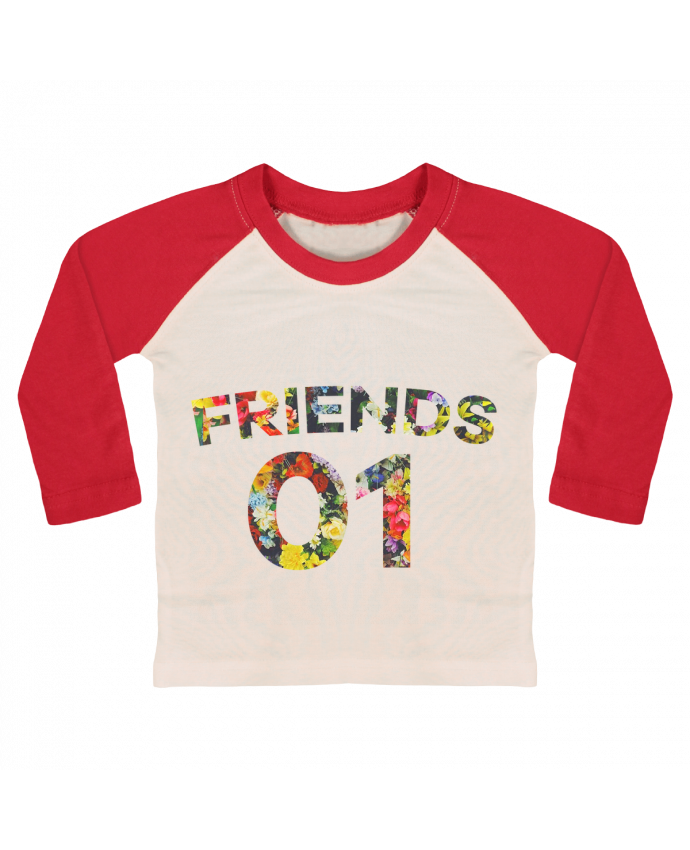 T-shirt Bébé Baseball Manches Longues BEST FRIENDS FLOWER 2 par tunetoo