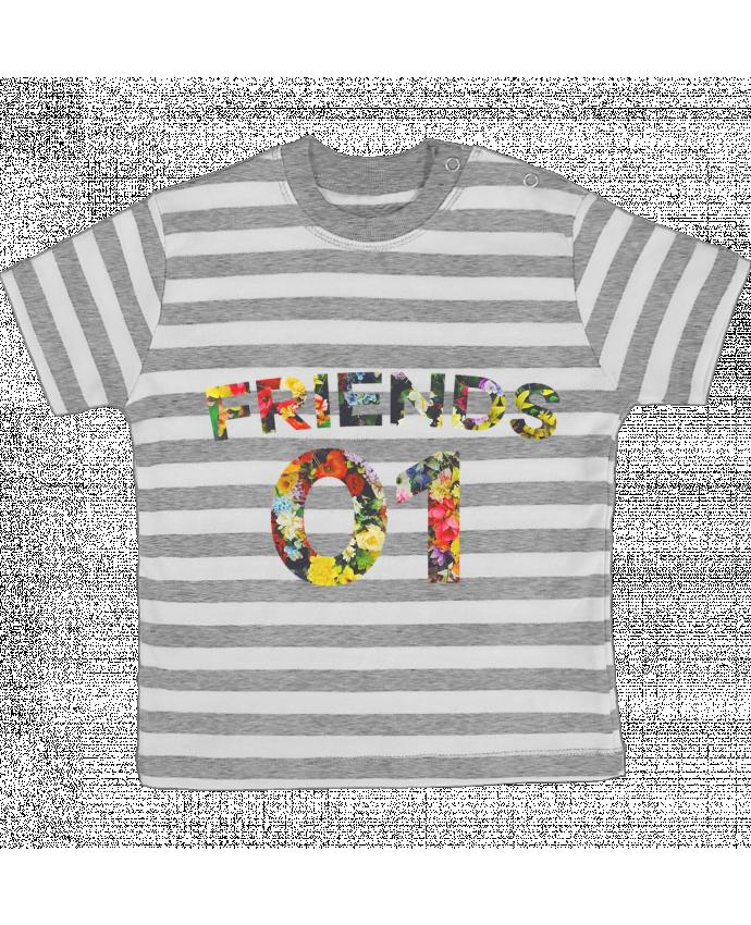 T-shirt Bébé à Rayures BEST FRIENDS FLOWER 2 par tunetoo