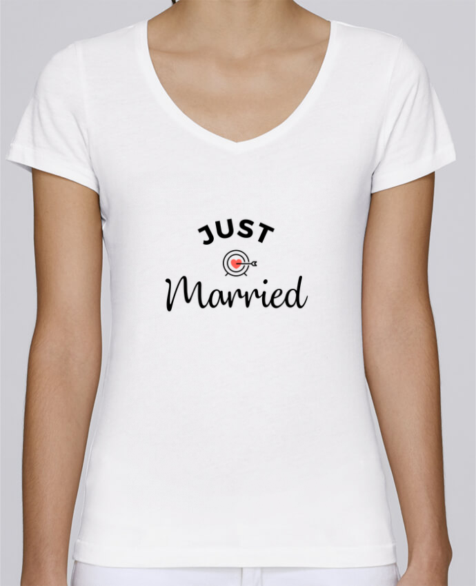 T-shirt Femme Col V Stella Chooses Just Married par Nana
