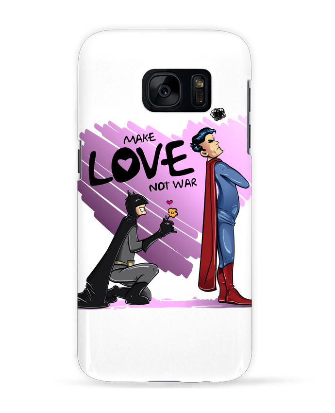 Coque 3D Samsung Galaxy S7 MAKE LOVE NOT WAR (BATMAN VS SUPERMAN) par teeshirt-design.com