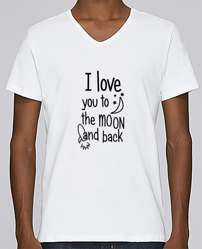 T-shirt Col V Homme Stanley Relaxes I love you to the moon and back par tunetoo