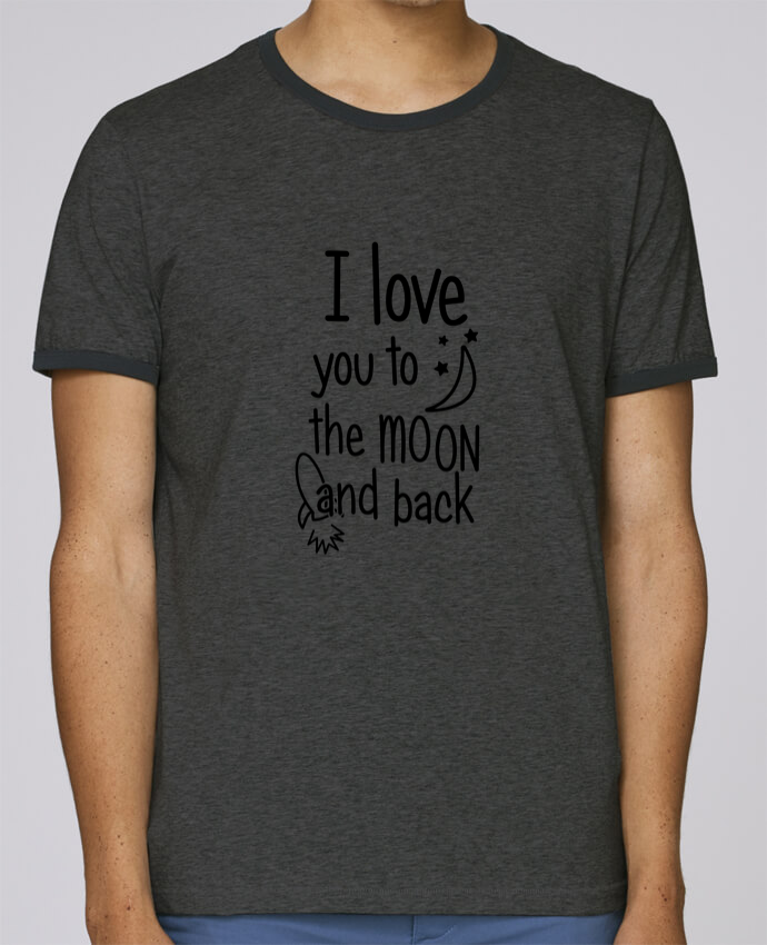 T-Shirt Ringer Contrasté Homme Stanley Holds I love you to the moon and back pour femme par tunetoo