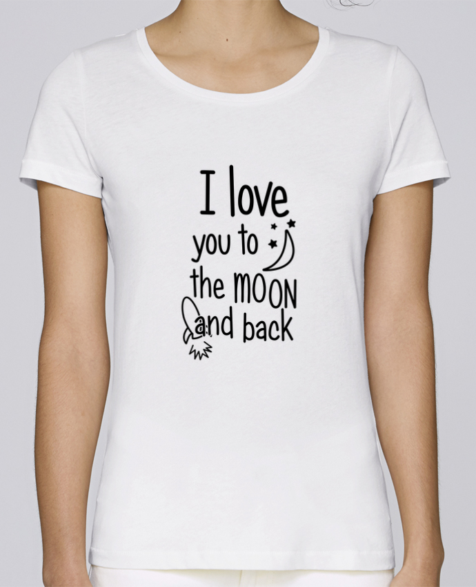 T-shirt  Femme Brodé I love you to the moon and back par tunetoo