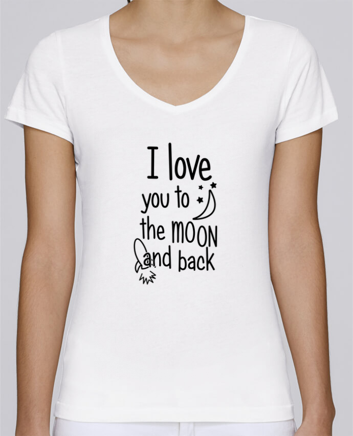 T-shirt femme brodé Stella Chooses I love you to the moon and back par tunetoo
