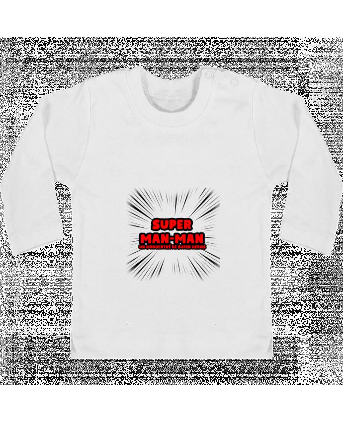 T-shirt Bébé Manches Longues Boutons Pression Super Man-Man manches longues du designer lip