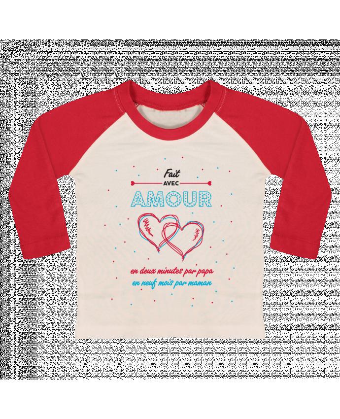 T-shirt Bébé Baseball Manches Longues Fait avec amour par tunetoo
