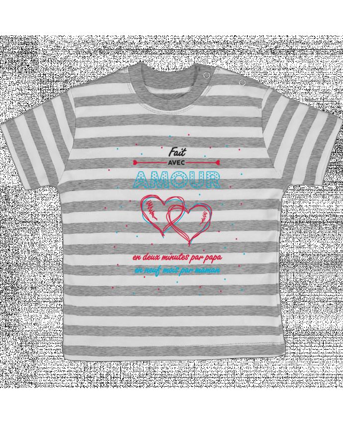 T-shirt Bébé à Rayures Fait avec amour par tunetoo