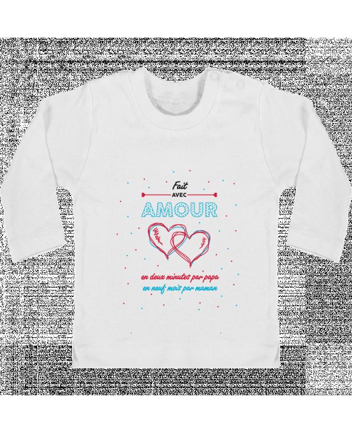 T-shirt Bébé Manches Longues Boutons Pression Fait avec amour manches longues du designer tunetoo