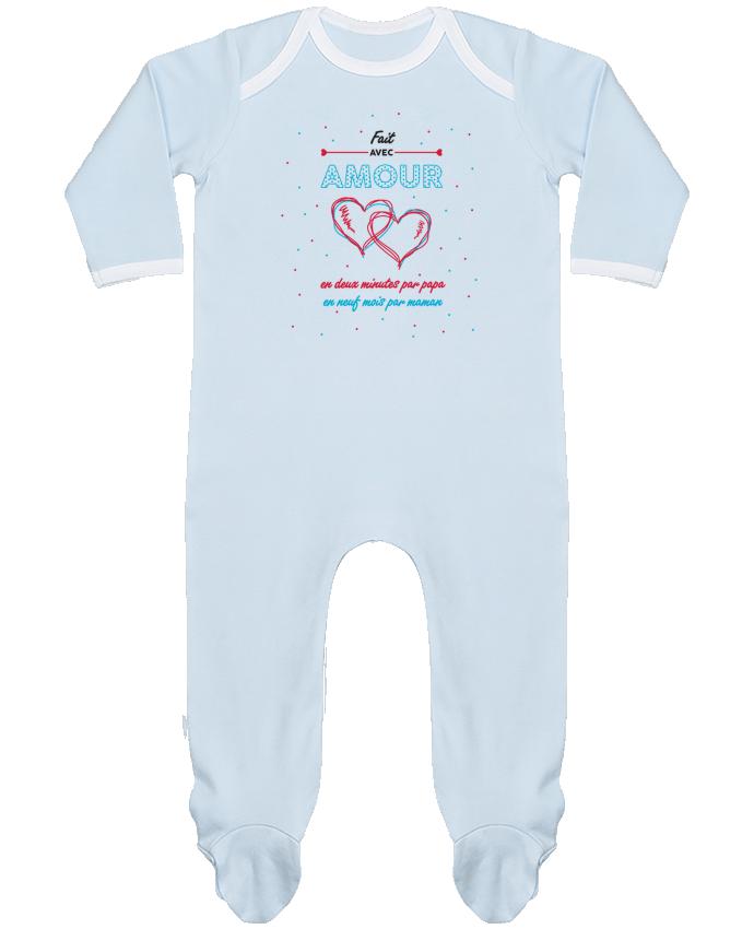 Pyjama Bébé Manches Longues Contrasté Fait avec amour par tunetoo