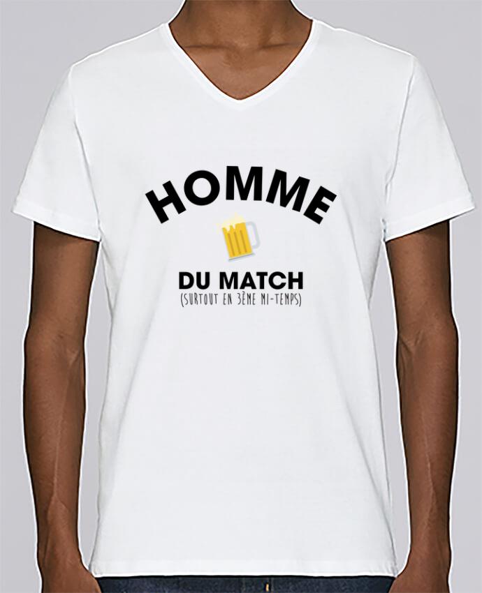 T-shirt Col V Homme Stanley Relaxes Homme du match - Bière par tunetoo