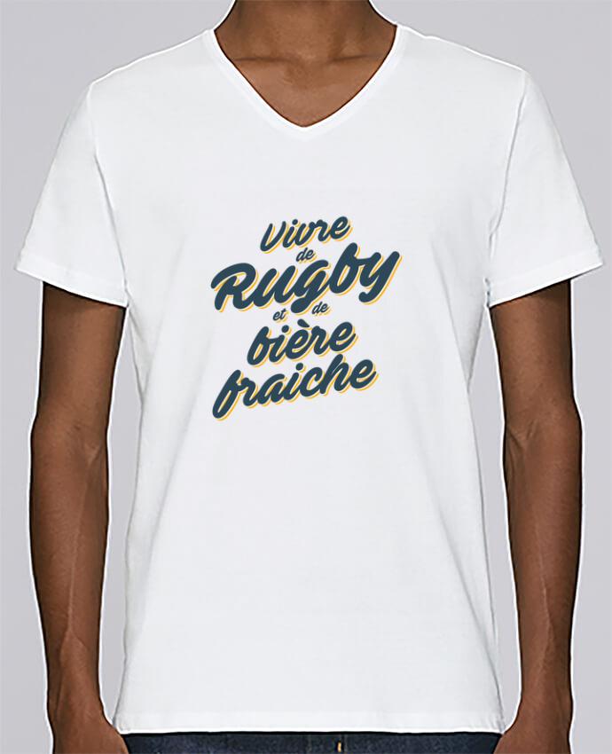 T-shirt Col V Homme Stanley Relaxes Vivre de rugby et de bière fraîche par tunetoo