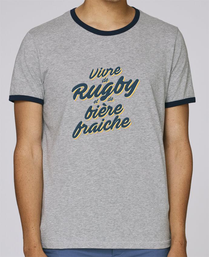 T-Shirt Ringer Contrasté Homme Stanley Holds Vivre de rugby et de bière fraîche pour femme par tunetoo