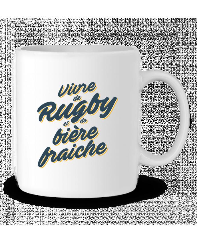Mug en Céramique Vivre de rugby et de bière fraîche par tunetoo