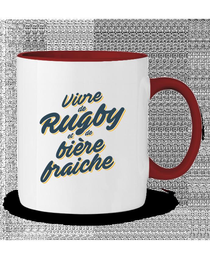 Mug en Céramique Bicolore Vivre de rugby et de bière fraîche tunetoo