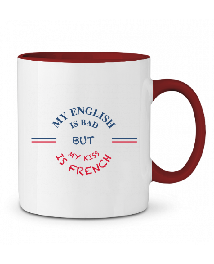 Mug en Céramique Bicolore My english is bad but my kiss is french tunetoo