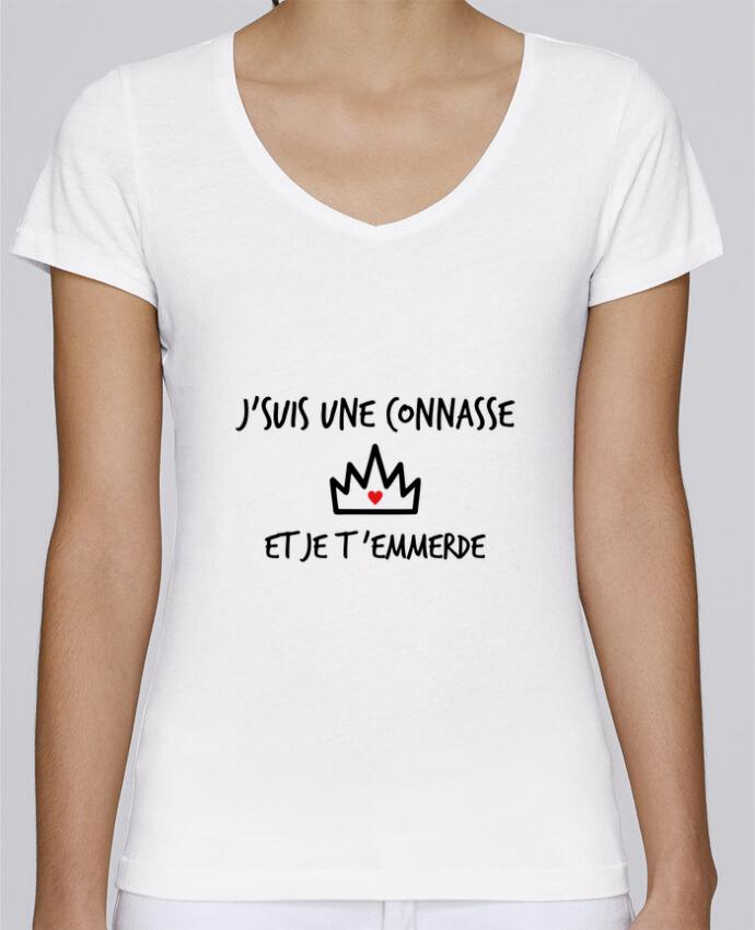 T-shirt Femme Col V Stella Chooses J'suis une connasse et je t'emmerde par Benichan