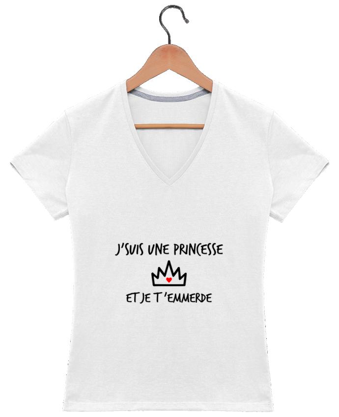 T-shirt Col V Femme 180 gr J'suis une princesse et je t'emmerde par Benichan