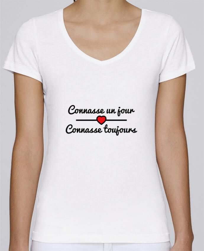 T-shirt Femme Col V Stella Chooses Connasse un jour, connasse toujours par Benichan