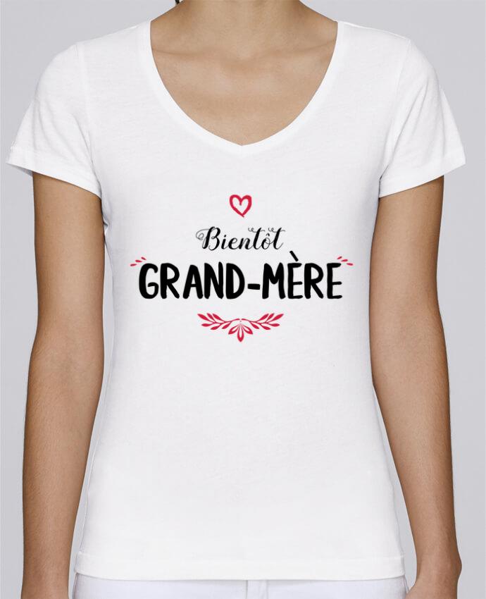 T-shirt Femme Col V Stella Chooses Bientôt grand-mère par tunetoo