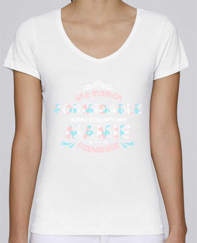 T-shirt Femme Col V Stella Chooses maman formidable = mamie fabuleuse par tunetoo
