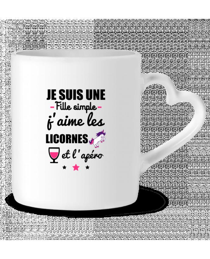 Mug Coeur Je suis une fille simple, j'aime les licornes et l'apéro par Benichan